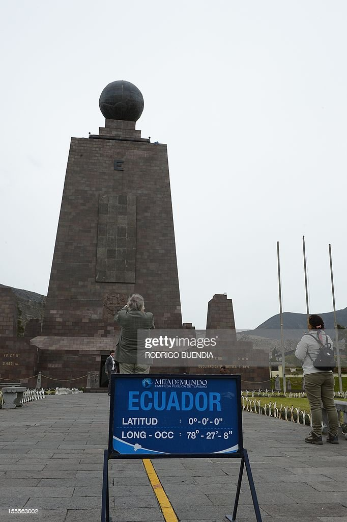 View of the 'Middle of the world' monument, in Quito, Ecuador, on November 5, 2012. The world's tallest tower, 1.6 km, could be erected in Ecuador on the imaginary line that divides the world into two, a budding mega-project to honor the indigenous past and boost tourism, and it would take the mark of the Uruguayan architect Rafael Vinoly.