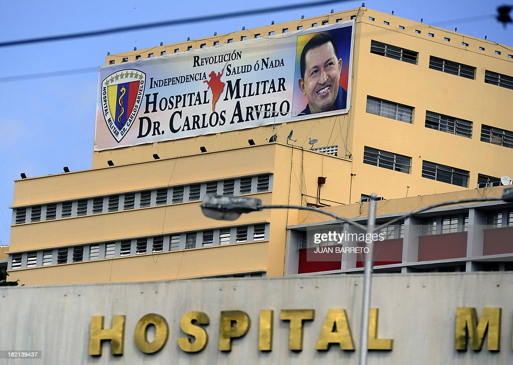 View of the military hospital in Caracas where Venezuelan President Hugo Chavez has been hospitalized following his return from Cuba on the eve, on February 19, 2013. Chavez returned to Venezuela early on Monday after spending more than two months in Cuba for cancer surgery and treatment, announcing his surprise homecoming via Twitter. 'We have arrived again to the Venezuelan motherland,' Chavez wrote. AFP PHOTO/Juan Barreto