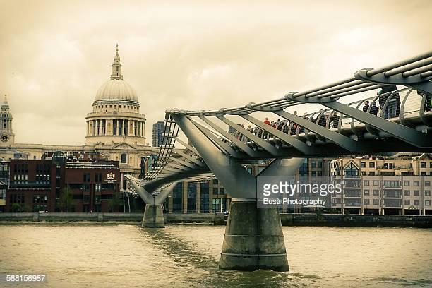 View of the Millenium Bridge in London, UK