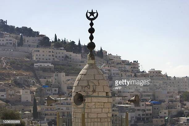 A view of the minaret of a mosque in which Jewish men tried to enter resulting in riots by Palestinian youths overnight in the east Jerusalem...