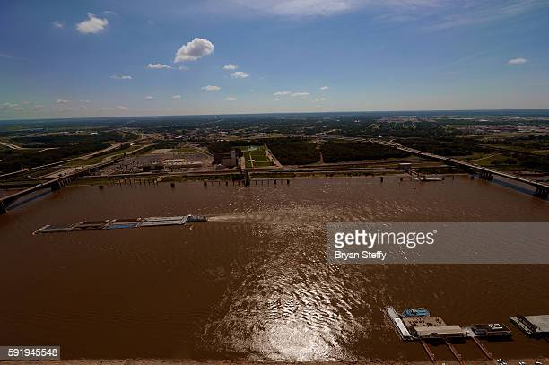 A view of the Mississippi River from inside the Gateway Arch Monument in St Louis Missouri on July 31 2016 The 630' monument cost USD $13 million was...
