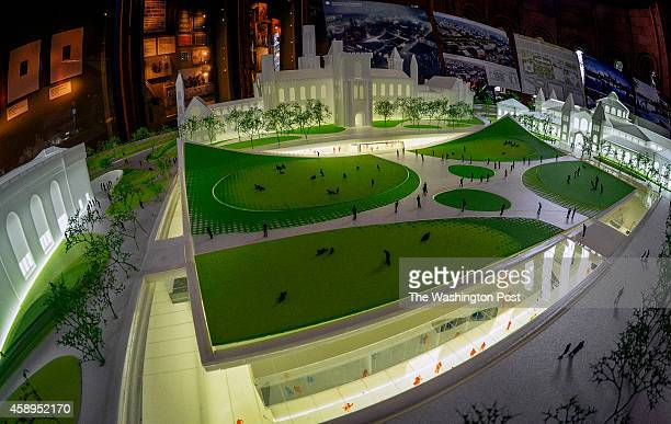 A view of the model showing the new subterranean features where the Enid Haupt garden now resides as Smithsonian officials and architects announce...