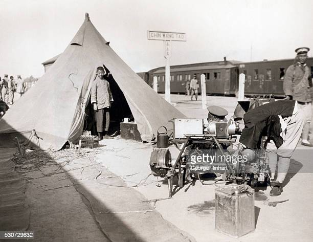 View of the modern wireless portable field set used by Marshal Wu Pei Fu commander of the Chinese Nationalist troops at the Shanhaikwan front Marshal...