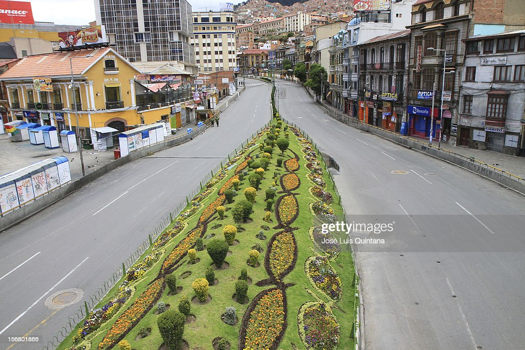 View of the Montes Avenue during the Bolivian national census November 21, 2012 in La Paz, Bolivia.