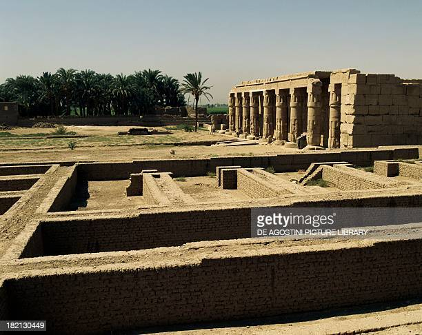 View of the Mortuary Temple of Seti I dedicated to AmonRa Theban necropolis Qurna Egyptian civilisation New Kingdom Dynasty XIX