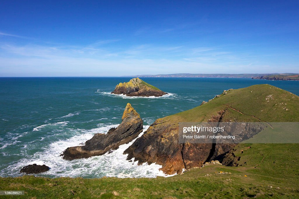 View of the Mouls off Rumps Point, Pentire Headland, Polzeath, North Cornwall, England, United Kingdom, Europe