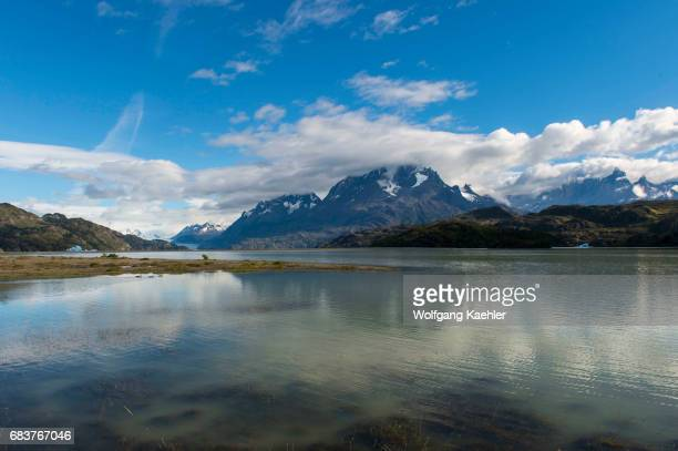 View of the mountains from Grey Lake in Torres del Paine National Park in southern Chile