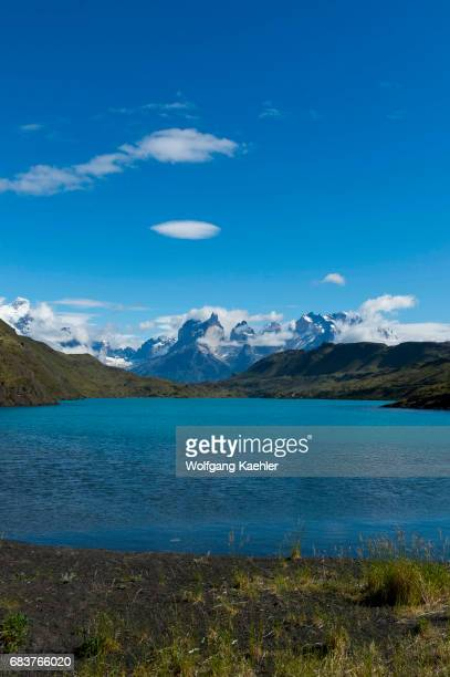View of the Mountains in Torres del Paine National Park in southern Chile with the Paine River in foreground