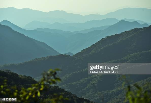 A view of the mountains of Durango State on October 18 2015 Dozens of bullets hit civil cars and houses in the Mexican mountains during a Marine...