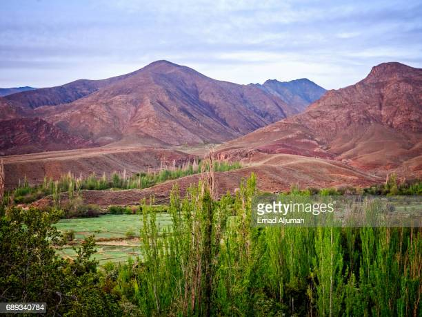 View of the mountains opposite the red village Abyaneh in Natanz County, Isfahan Province, Iran - 28 April 2017