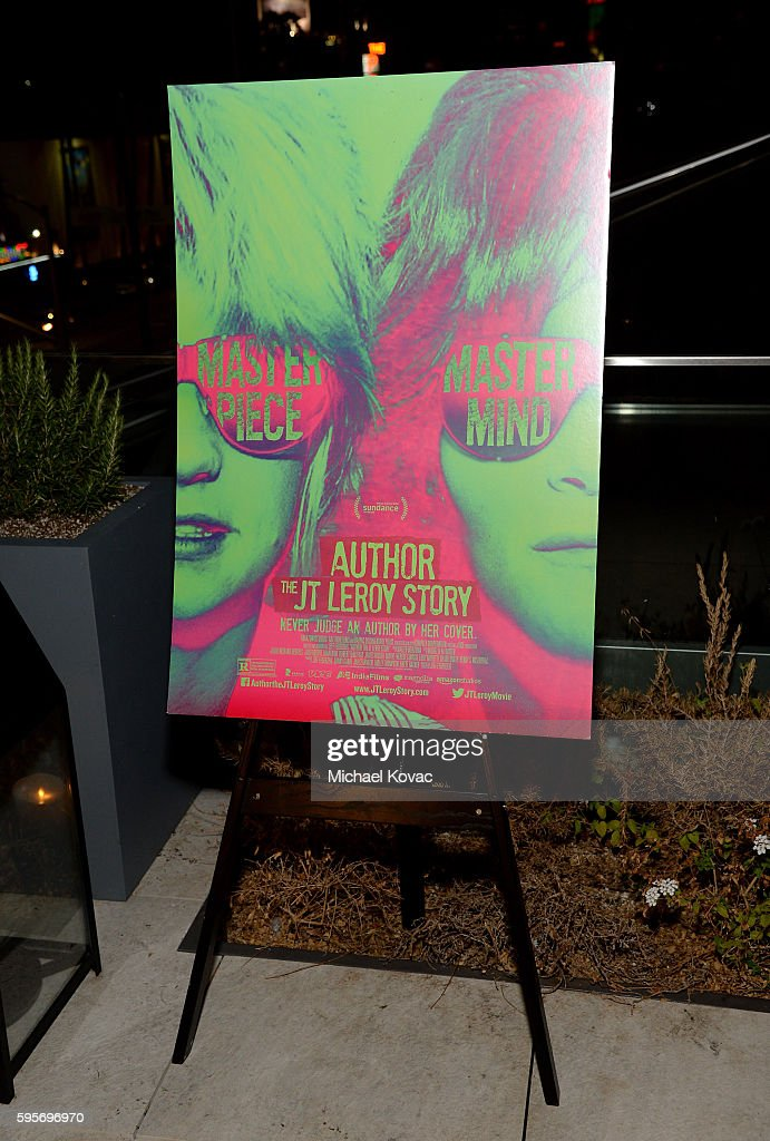 View of the movie poster on display the Los Angeles Premiere of 'Author The JT Leroy Story' at NeueHouse Hollywood on August 25 2016 in Los Angeles...