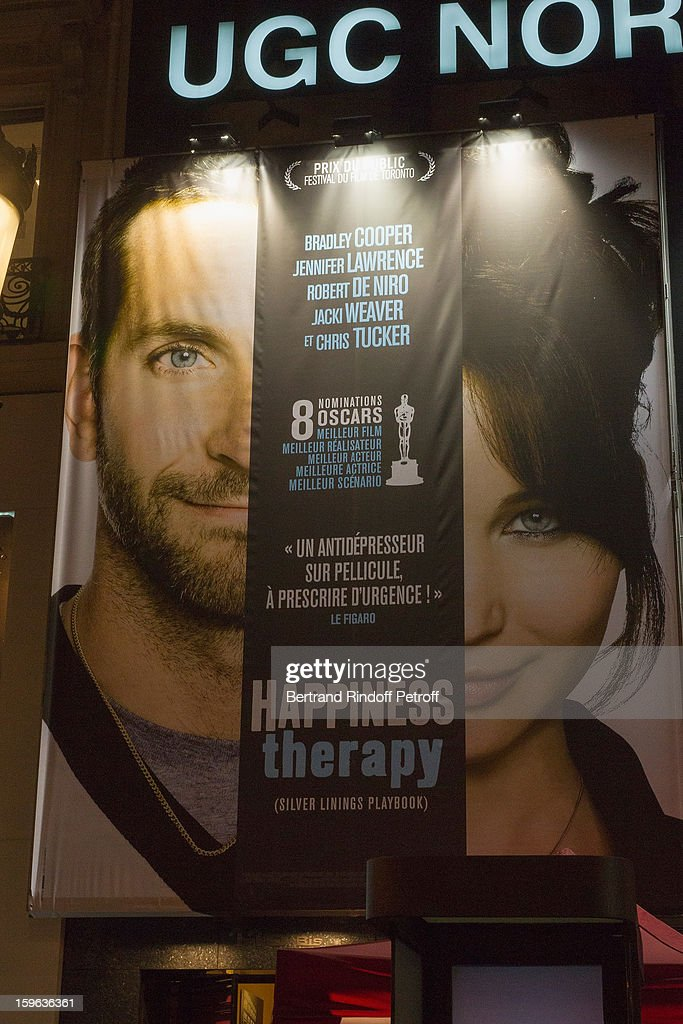 A view of the movie's poster displayed on the Champs Elysees avenue during the premiere of 'Happiness Therapy' (Silver Linings Playbook) at Cinema UGC Normandie on January 17, 2013 in Paris, France.