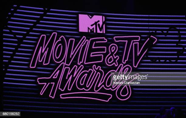 A view of the MTV Awards signage onstage during the 2017 MTV Movie And TV Awards at The Shrine Auditorium on May 7 2017 in Los Angeles California