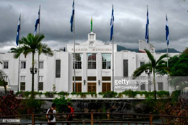 View of the municipal palace in San Pedro Sula 180 kilometres north of Tegucigalpa on November 5 2017 where Honduras will face Australia in the first...