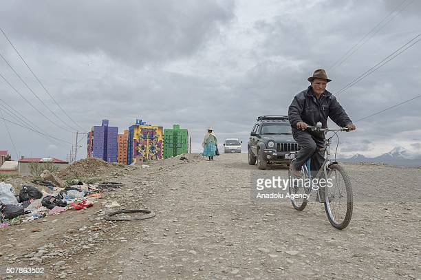 View of the murals painted by Roberto Mamani Mamani on a goverment´s social housing project called 'urbanizacion Whipala' in El Alto Bolivia on...