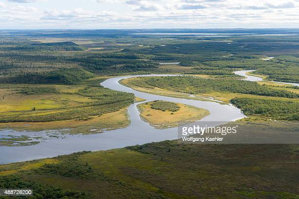 View of the Naknek River and tundra during the flight by seaplane from King Salmon on the Katmai Peninsula in Alaska USA to Brooks Lake in Katmai...