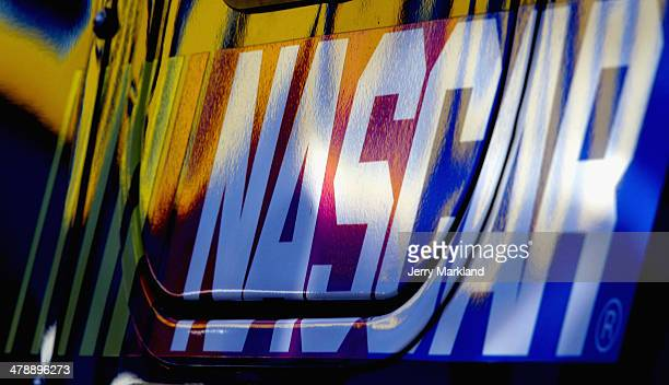 View of the NASCAR logo during practice for the NASCAR Sprint Cup Series Food City 500 at Bristol Motor Speedway on March 15 2014 in Bristol Tennessee