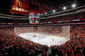 A view of the National Anthem prior to Game Four of the First Round of the 2014 Stanley Cup Playoffs between the Philadelphia Flyers and the New York...