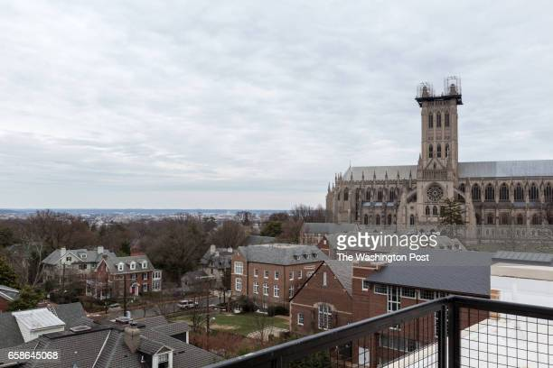 View of the National Cathedral from the Rooftop Deck on the Penthouse on March 20 2017 in Washington DC