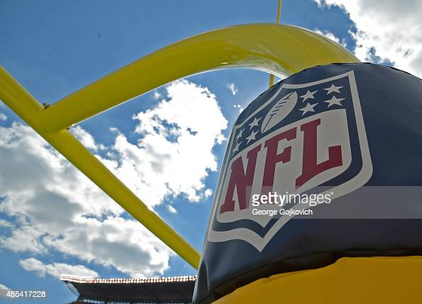A view of the National Football League logo on padding on the goal post during a game between the Cleveland Browns and Pittsburgh Steelers at Heinz...