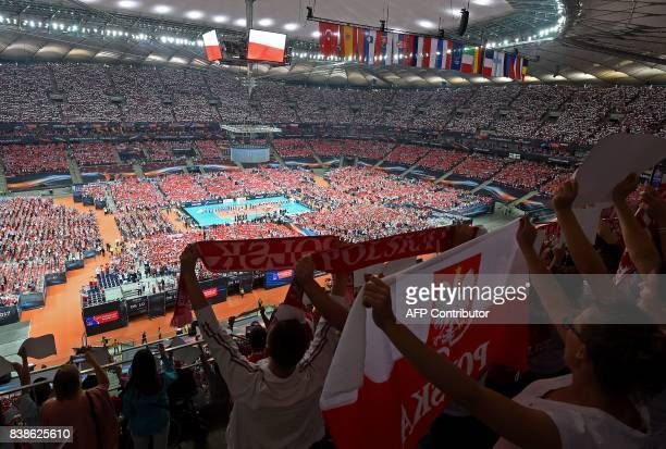 View of the National Stadium during the opening match between Poland and Serbia during the CEV Men's Volleyball European Championship on August 24...