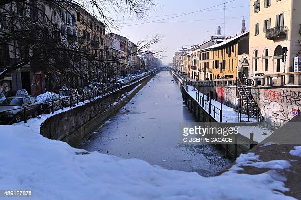 A view of the 'Navigli' canal taken on February 6 2012 in Milan Temperatures fell to minus 10 degrees Celsius in Milan on Monday as 59000 households...
