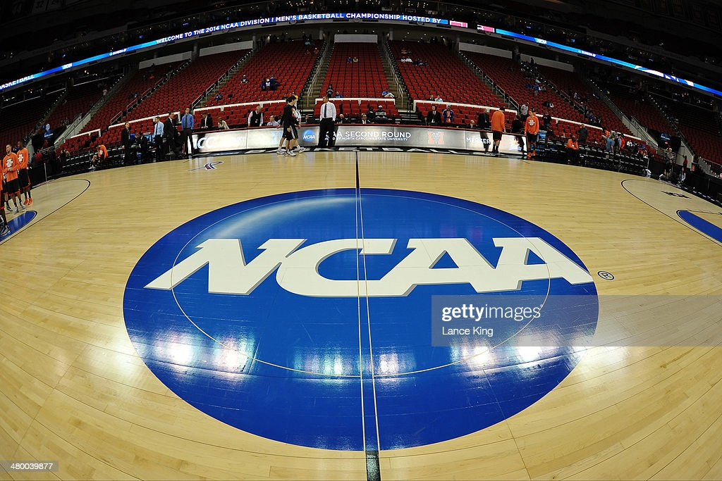A view of the NCAA logo during the Second Round of the 2014 NCAA Basketball Tournament at PNC Arena on March 21 2014 in Raleigh North Carolina