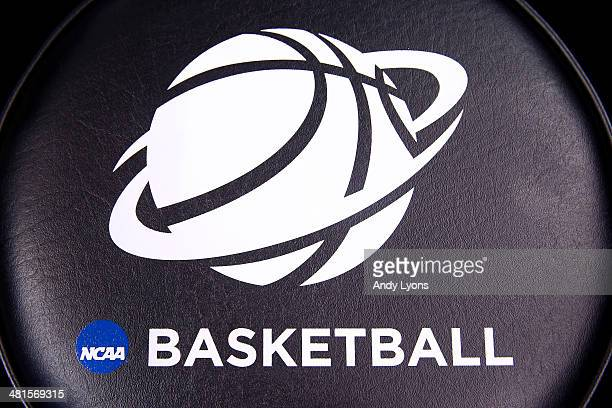 A view of the NCAA Logo printed on a stool on the court prior to the midwest regional final between the Kentucky Wildcats and the Michigan Wolverines...