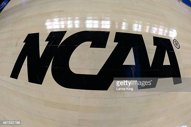 A view of the NCAA logo prior to a game between the Michigan State Spartans and the Virginia Cavaliers during the third round of the 2015 NCAA Men's...