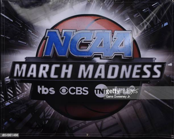 A view of the NCAA logos prior to the game between the Gonzaga Bulldogs and the Northwestern Wildcats during the second round of the 2017 NCAA Men's...