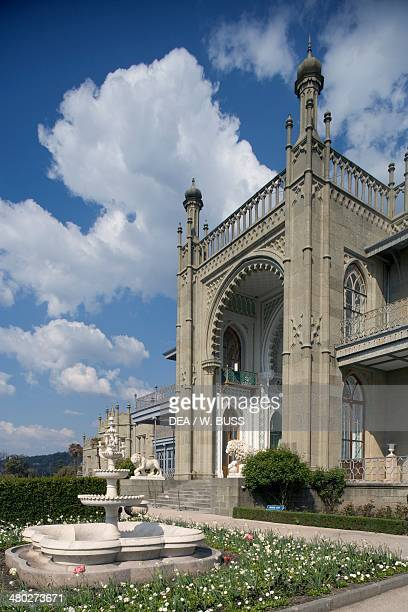 View of the neoMoorish style southern facade of Vorontsov Palace 18281846 designed by Edward Blore with the AyPetri peak in the background Alupka...