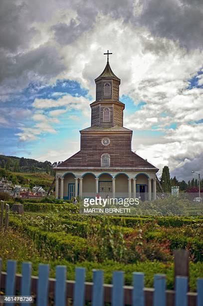 View of the Nercon church Isla Grande de Chiloe some 1150 km south of Santiago on January 11 2015 The Isla Grande de Chiloe the largest island of the...
