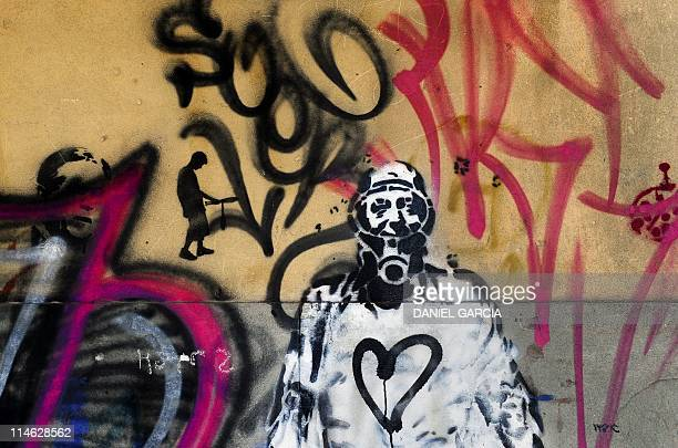 View of the 'Nestornauta' a stencil painted in many walls of Buenos Aires as a tribute to former President Nestor Kirchner on May 3 2011 The image...