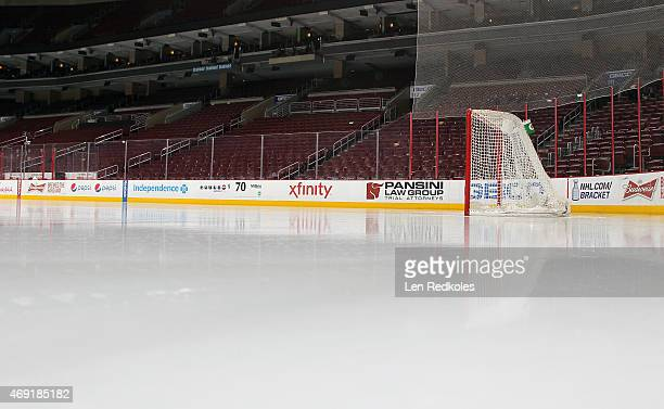 A view of the net and ice surface prior to a game between the Philadelphia Flyers and the New York Islanders on April 7 2015 at the Wells Fargo...