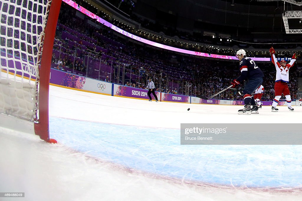 A view of the net where the post has been displaced, leading to a disallowed goal by Russia during the Men's Ice Hockey Preliminary Round Group A game against the United States on day eight of the Sochi 2014 Winter Olympics at Bolshoy Ice Dome on February 15, 2014 in Sochi, Russia.