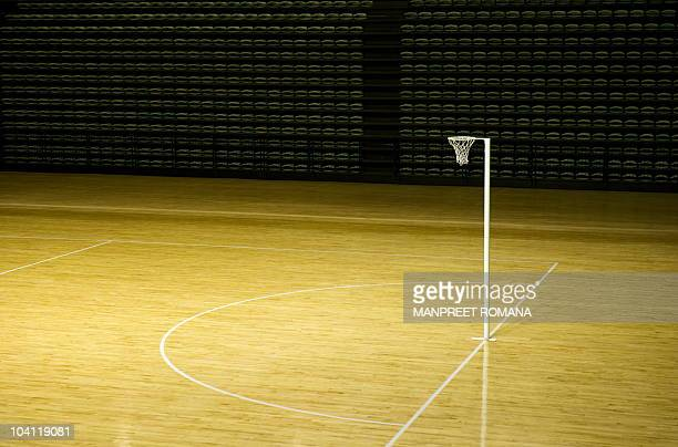 A view of the netball court at the Thyagaraj Stadium during a media visit in New Delhi on September 15 2010 The Indian capital is scheduled to host...