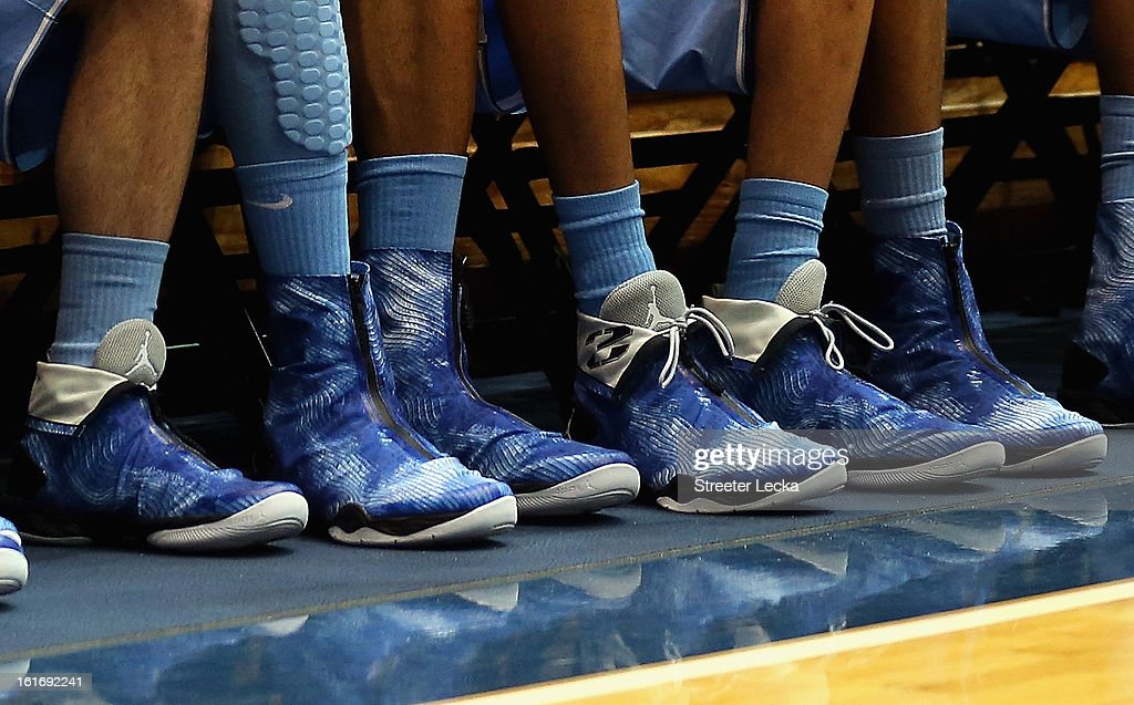 A view of the new Air Jordan shoes worn by the North Carolina Tar Heels during their game against the Duke Blue Devils at Cameron Indoor Stadium on February 13, 2013 in Durham, North Carolina.
