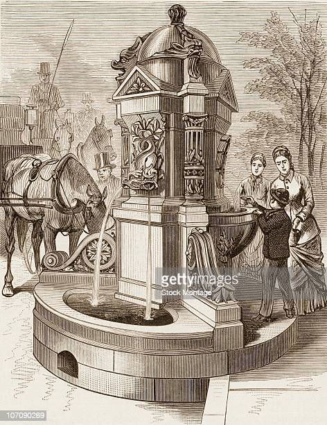 View of the new drinking fountain at Madison Avenue and 23rd Street in New York circa 1881