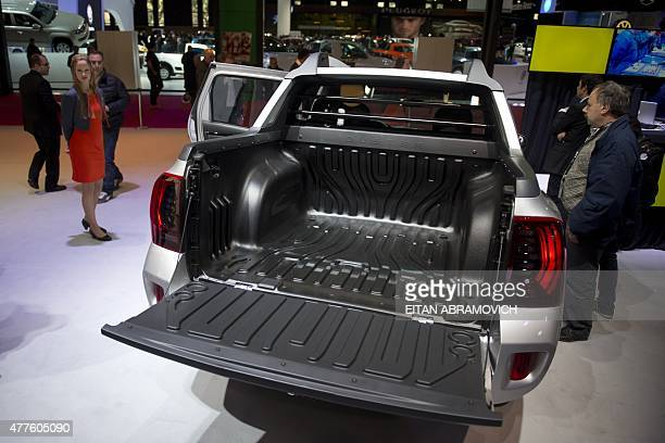 View of the new Duster Oroch small pickup truck on display at the Buenos Aires International Motor Show on June 18 2015 AFP PHOTO/EITAN ABRAMOVICH