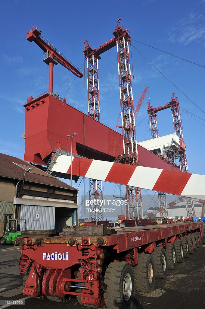 A view of the new goliath crane of the STX France shipyards of SaintNazaire western France taken on December 12 2013 The new crane currently under...