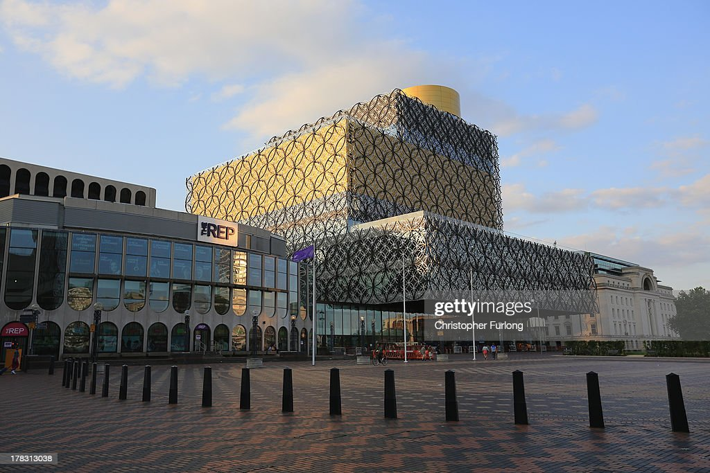 A view of the new Library of Birmingham at Centenary Square on August 26, 2013 in Birmingham, England. The new futuristic building designed by architect Francine Hoube officially opens on September 3 and has cost 189 million GBP. The modern exterior of interlacing rings reflects the canals and tunnels of Birmingham. The library's ten floors will house the city's internationally important collections of archives, photography and rare books as well as it's lending library.