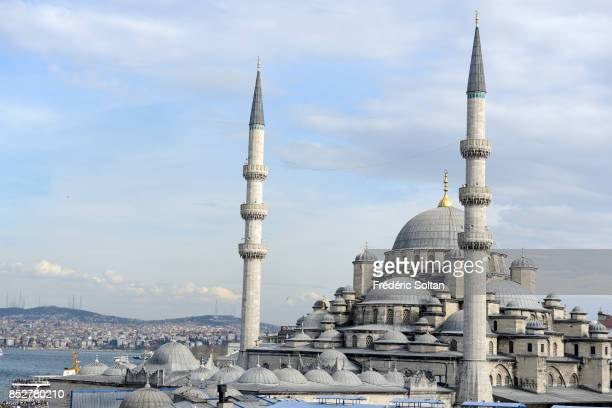 View of the New Mosque in Istanbul in downtown on October 14 2014 in Istanbul Turkey
