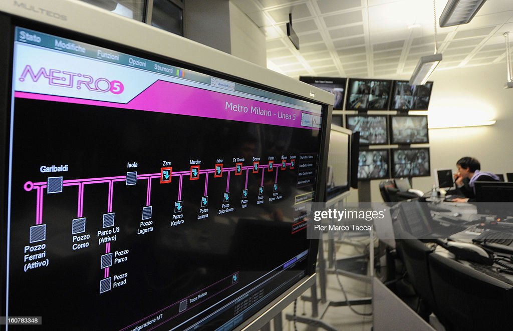 A view of the new operation centre of underground line (linea M5) at the press preview on February 5, 2013 in Milan, Italy. The new metropolitan line M5 is the first line to Milan without train operator and every train it is able to transport up to 536 people.