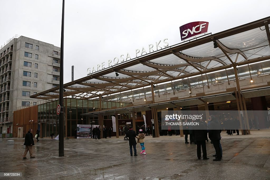 View of the new Rosa Parks railway station taken during its inauguration on February 6, 2016 in Paris. / AFP / THOMAS SAMSON