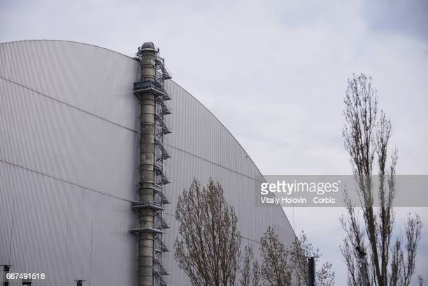 A view of the new safe confinement over the unit 4 at the Chernobyl nuclear power plant in the Exclusion Zone Ukraine April 5 2017 The Chernobyl...