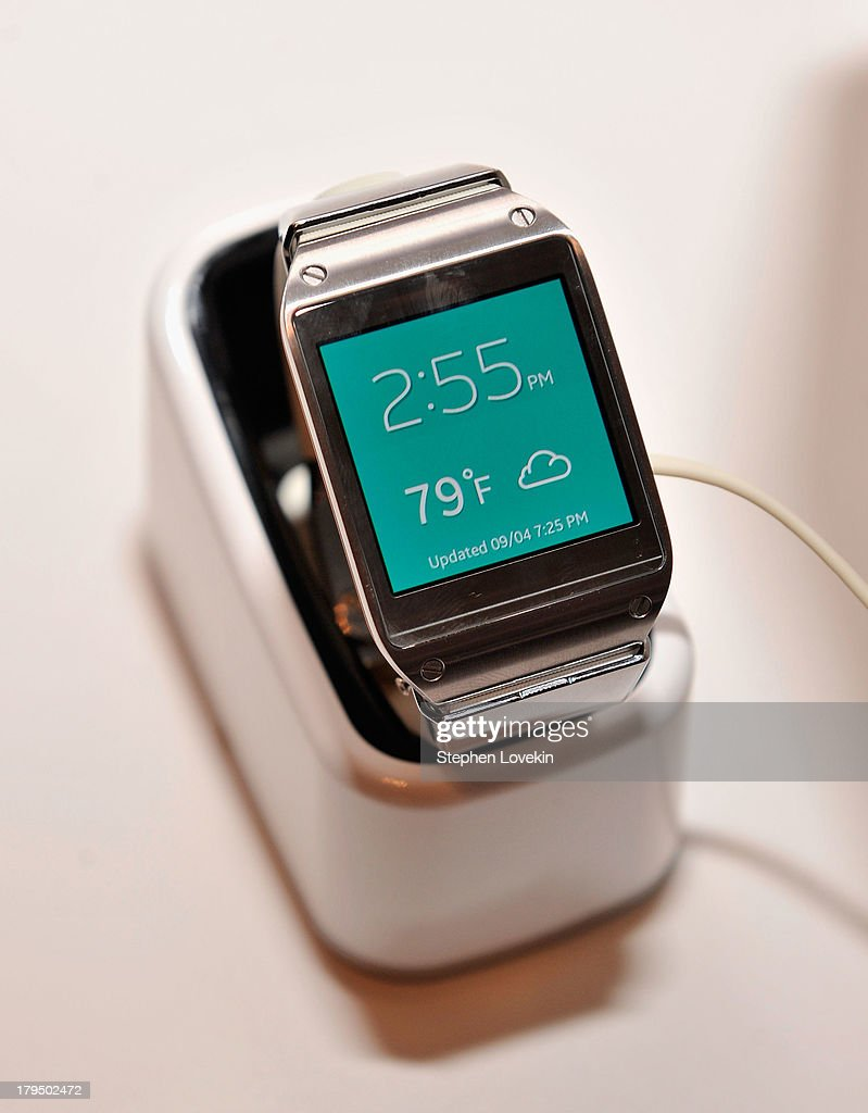 A view of the new Samsung GALAXY Gear during Samsung Unpacked 2013 Episode 2 in Times Square on September 4 2013 in New York City