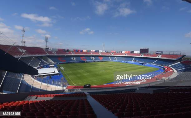 View of the new stadium of Paraguayan football team Cerro Porteno 'La nueva olla' in Asuncion on August 18 2017 The stadium to be inaugurated on...