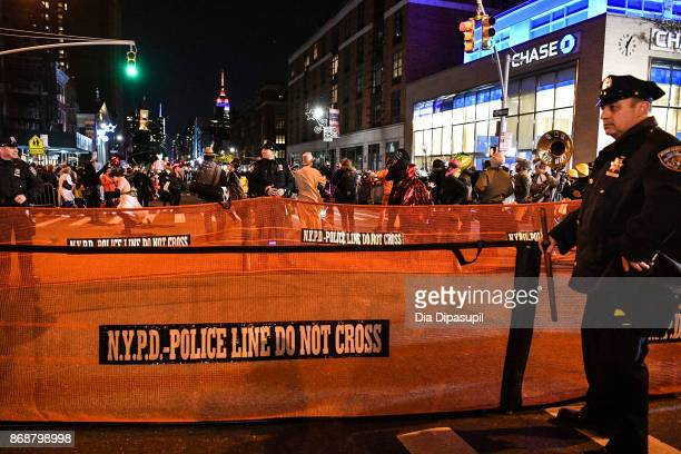 A view of the New York City Police Department during the 44th Annual Village Halloween Parade on October 31 2017 in New York City