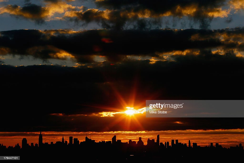 A view of the New York City skyline is seen as the sun sets from Arthur Ashe Stadium on Day Nine of the 2013 US Open at the USTA Billie Jean King National Tennis Center on September 3, 2013 in New York City.