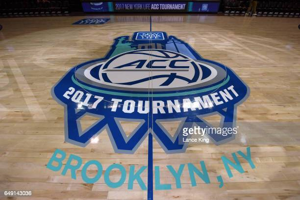 A view of the New York Life 2017 ACC Tournament logo at center court at Barclays Center on March 7 2017 in New York City